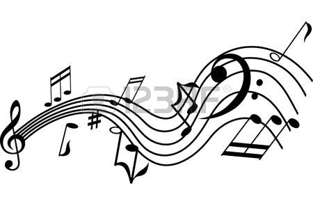 450x286 Musical Symbols On A Twisted Staff, Vector Graphic Design Element