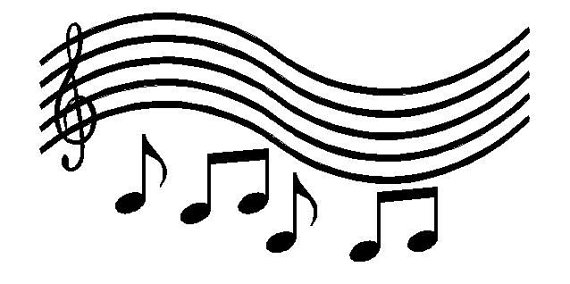 570x284 Wall Lettering Music Staff With Notes Vinyl Decal Wall Art