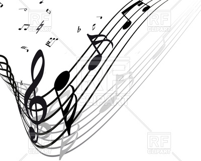 400x320 Wavy musical notes staff Royalty Free Vector Clip Art Image