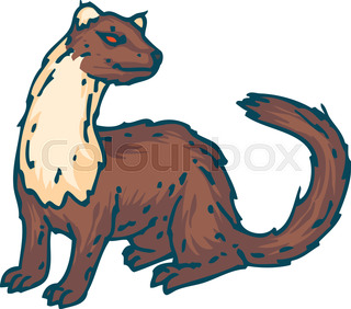 320x282 A Weasel Riding A Woodpecker. Vector Clip Art Illustration