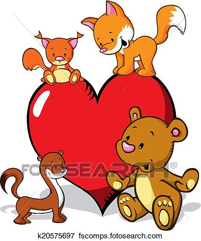 391x470 Clip Art Of Cute Animals Cartoon With Valentines Heart