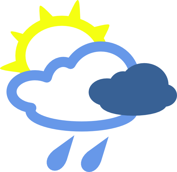 600x583 Sun And Rain Weather Symbols Clip Art