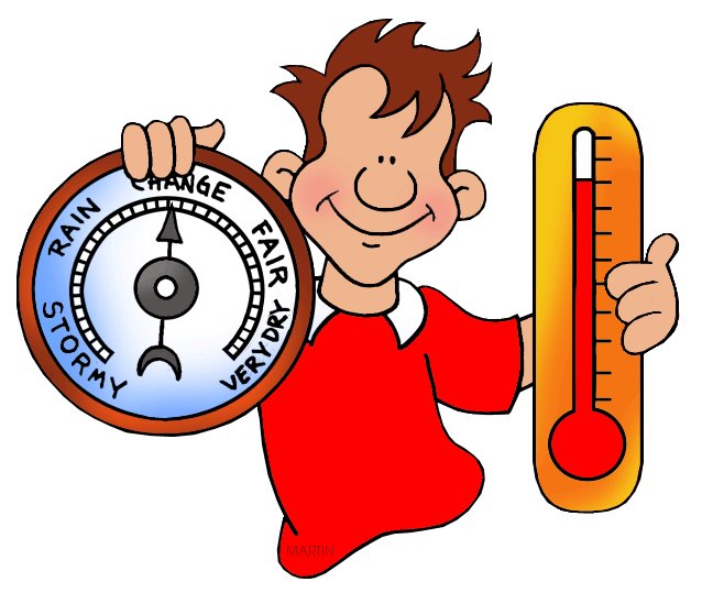 648x559 Weather Clip Art By Phillip Martin, Barometer And Thermometer