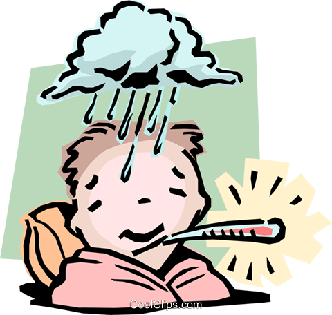 480x456 Boy Feeling Under The Weather Royalty Free Vector Clip Art