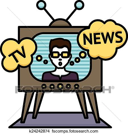 449x470 Clip Art Of Tv Weather News Reporter K25462807