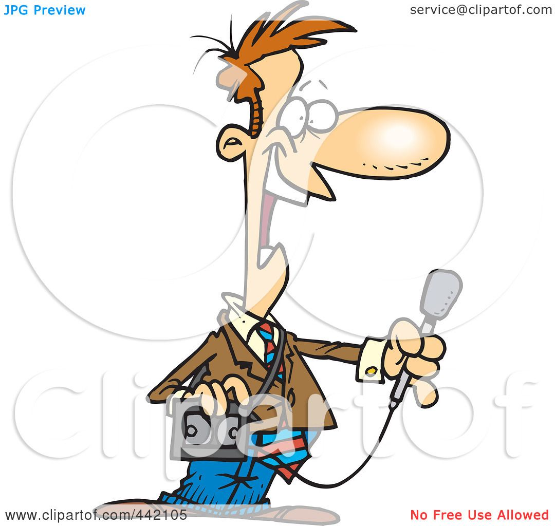 1080x1024 Royalty Free (Rf) Clip Art Illustration Of A Cartoon News Reporter