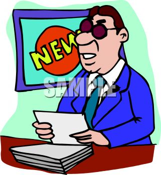321x350 Royalty Free Clipart Image News Anchorman Doing His Report