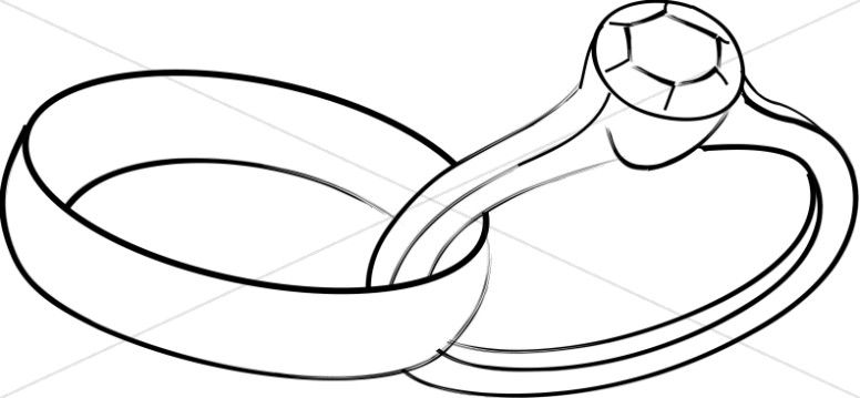 776x359 Linked Wedding Band And Engagement Ring Christian Wedding Clipart