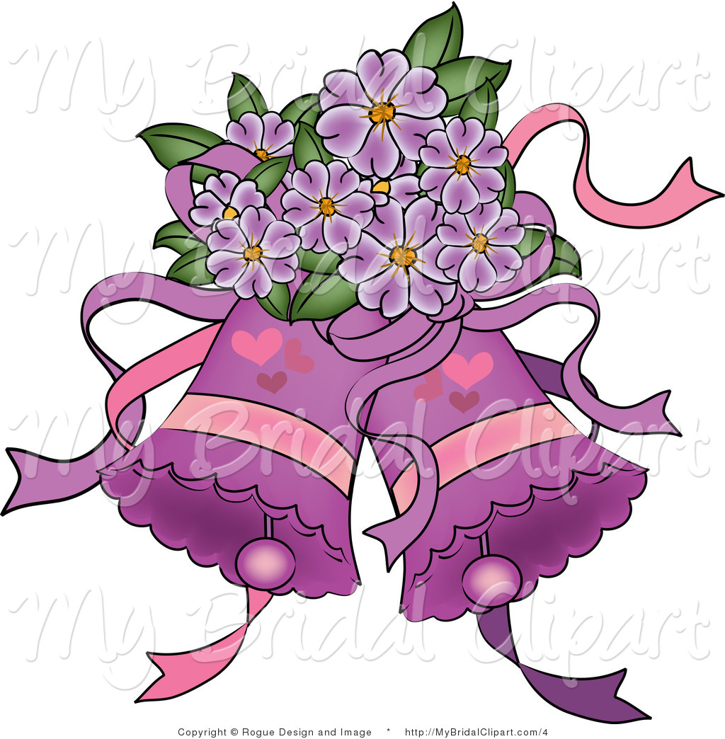 1024x1044 Bridal Vector Clipart Of Purple Wedding Bells And Flowers By Pams