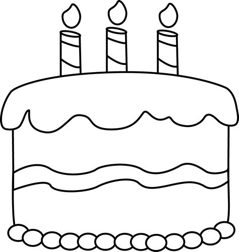 474x500 Birthday Cake Black And White Clipart