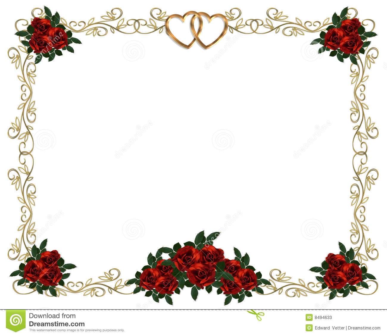 1300x1130 Red Roses Border Wedding Invitation Stock Photos