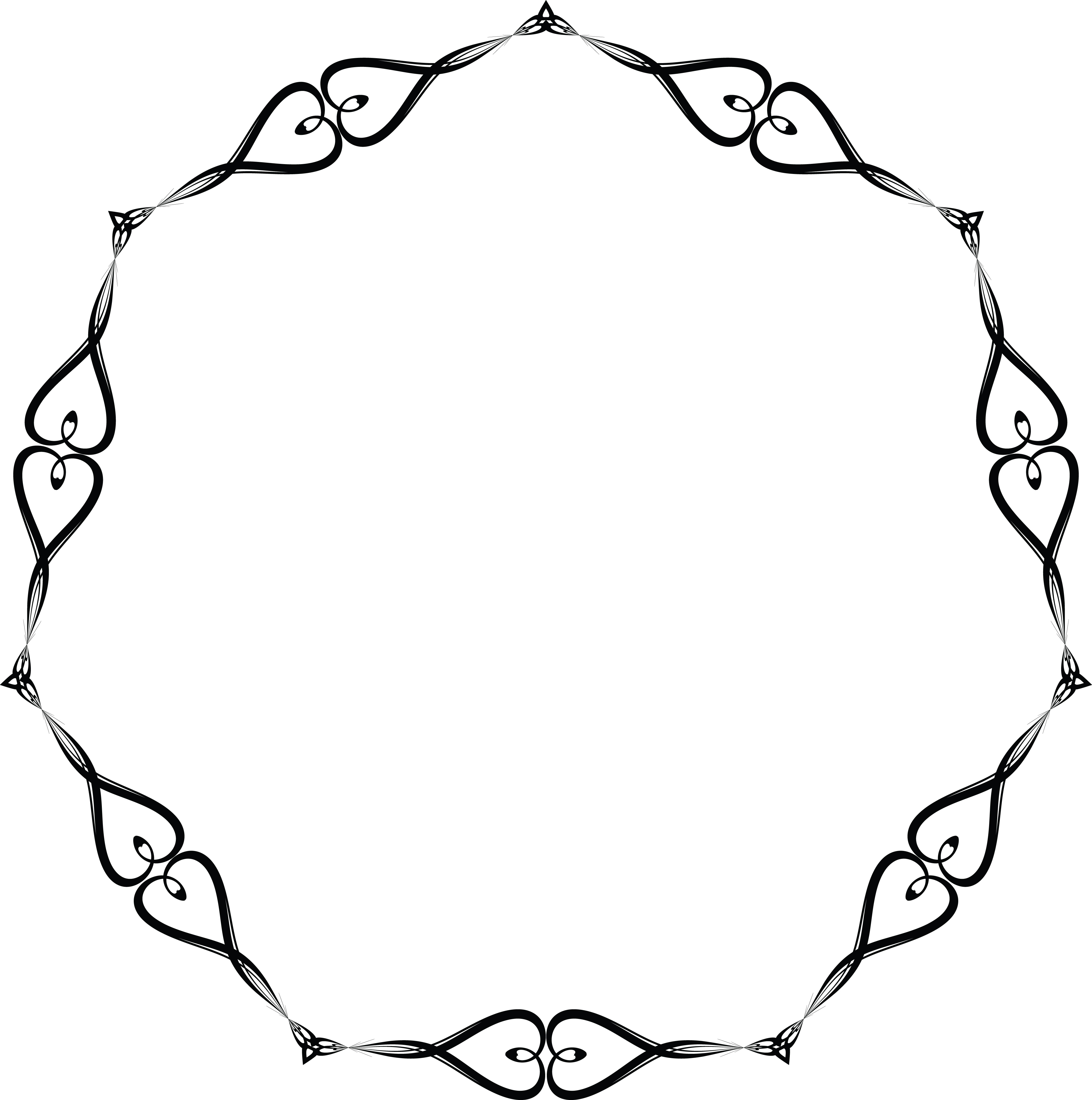 4000x4028 Clipart Of A Round Black And White Wedding Border Frame Of Hearts