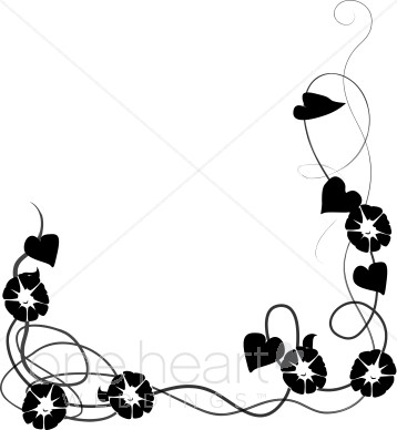 358x388 Morning Glories Graphic Wedding Flower Borders