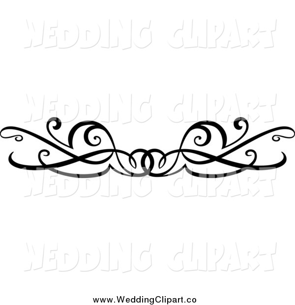 600x620 Vector Marriage Clipart Of A Black And White Wedding Swirl Border