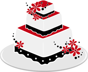 300x244 Wedding Cake Clipart Image A Red And Black Square Wedding Cake