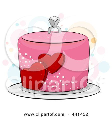 450x470 Cartoon Of A Funky Wedding Cake With Kissing Bride And Groom Birds