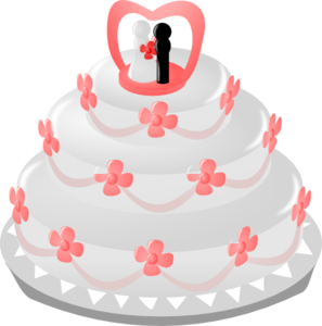 297x300 Wedding Cake With Topper Clip Art
