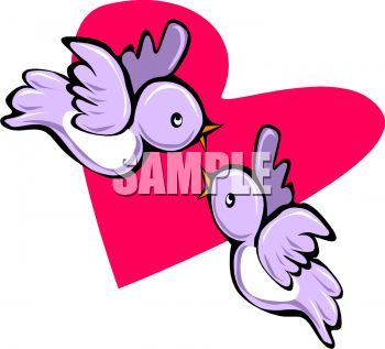 350x317 Cartoon Lovebirds Singing To Each Other