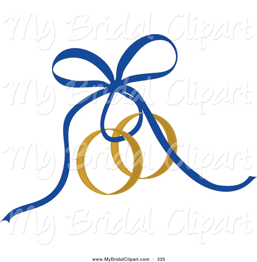 1024x1044 Bridal Clipart of a Blue Ribbon Tying Gold Wedding Rings by Pams