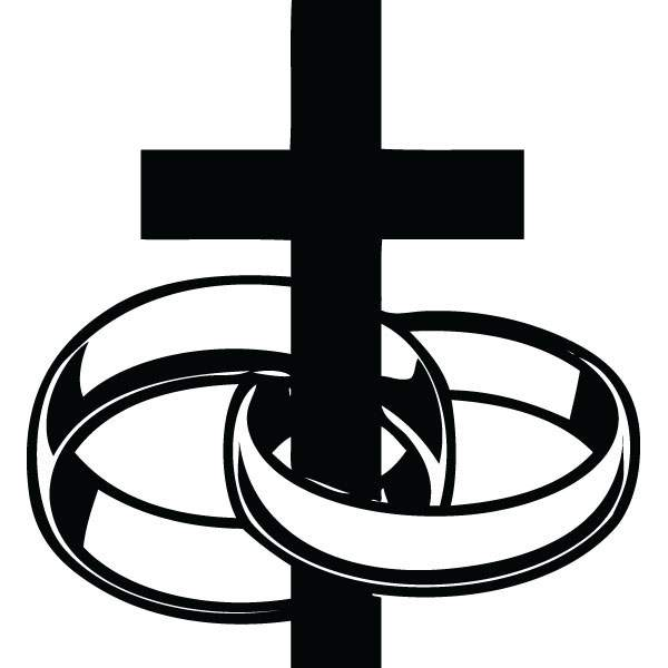 600x600 Two Rings Cross Wedding Clip Art For Custom Engraved Gifts
