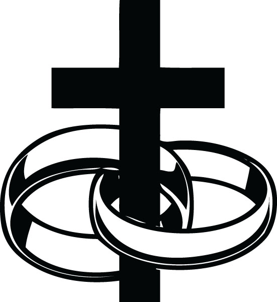 551x600 Cross And Rings Wedding Clipart