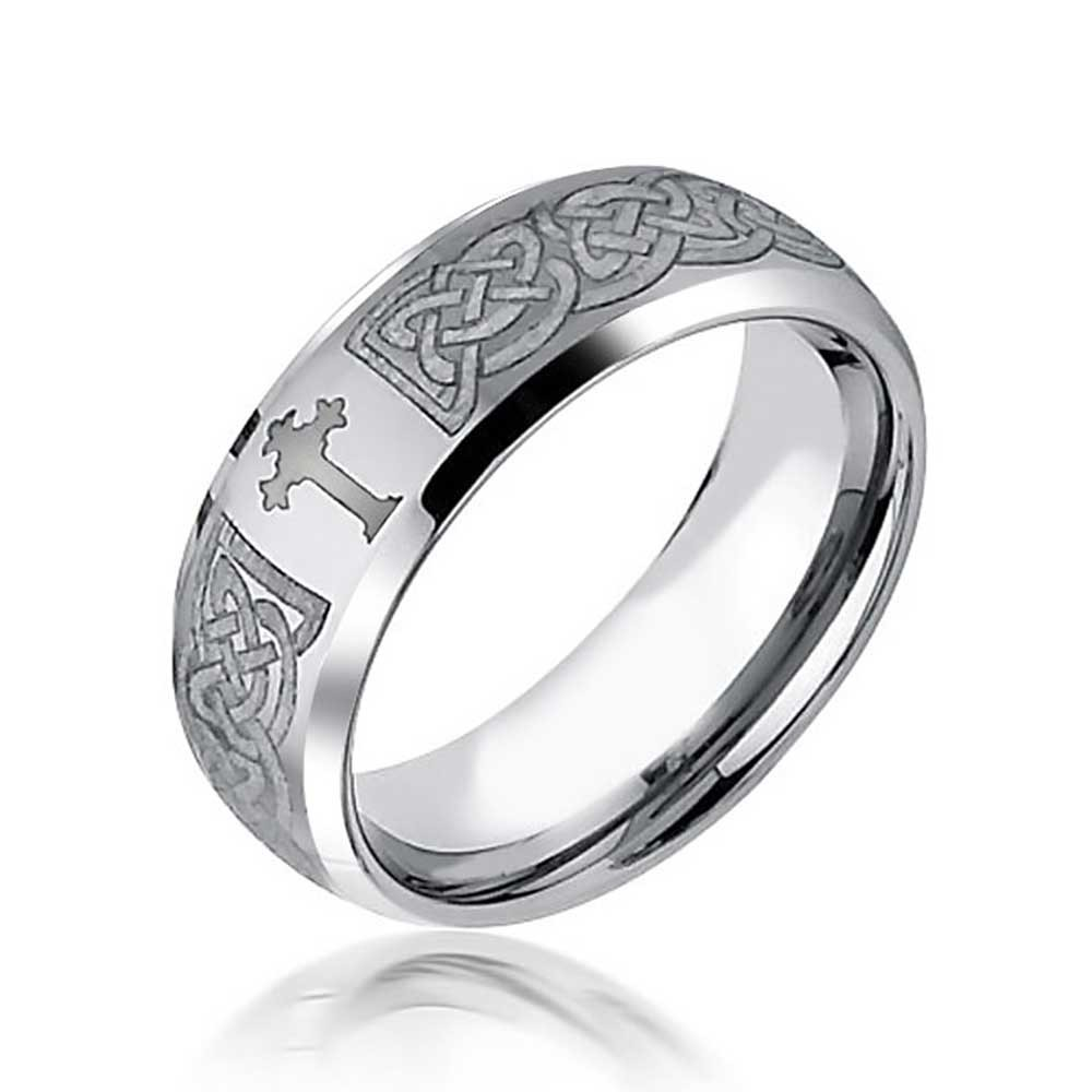 1000x1000 Celtic Cross Design Curved Brushed Tungsten Ring 8mm