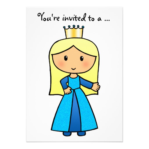512x512 Cartoon Clip Art Cute Blond Princess Bridal Shower Custom Invites