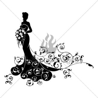 325x325 Bride Wedding Bouquet Silhouette Gl Stock Images