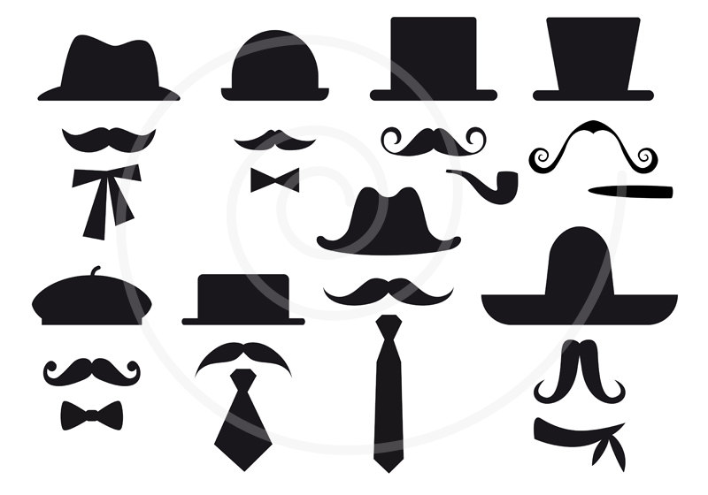 800x560 16 Mustache Silhouettes With Hats Digital Clip Art Clipart