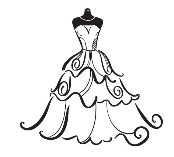 570x514 Clipart Wedding Dress