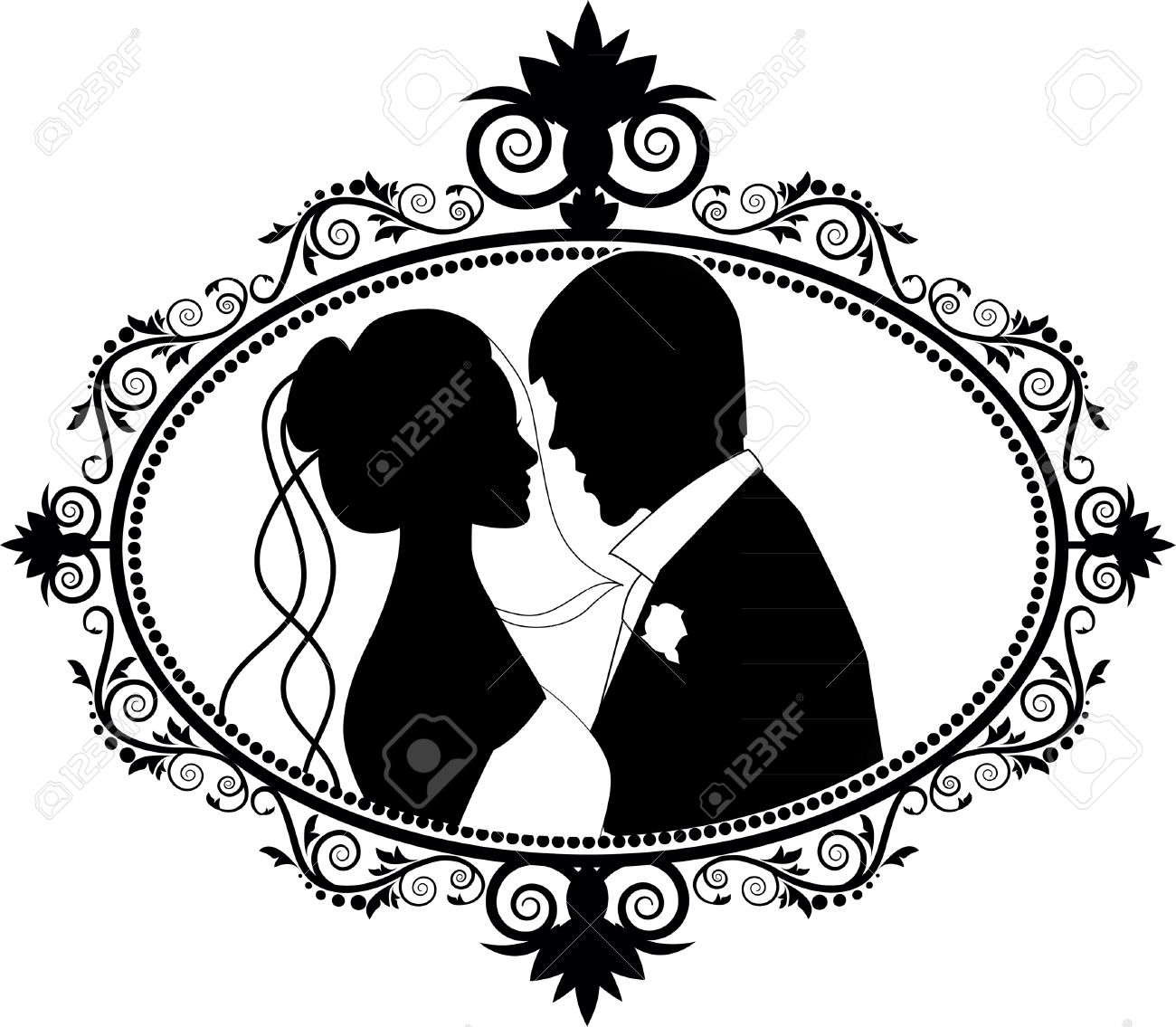 1300x1135 Wedding Couple Silhouettes Royalty Free Cliparts, Vectors,
