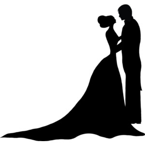 300x300 Wedding Dress Clipart Couple Silhouette