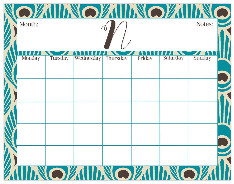 1500x1178 Large Desk Calendar, Peacock Print, Monthly Calendar Or Weekly