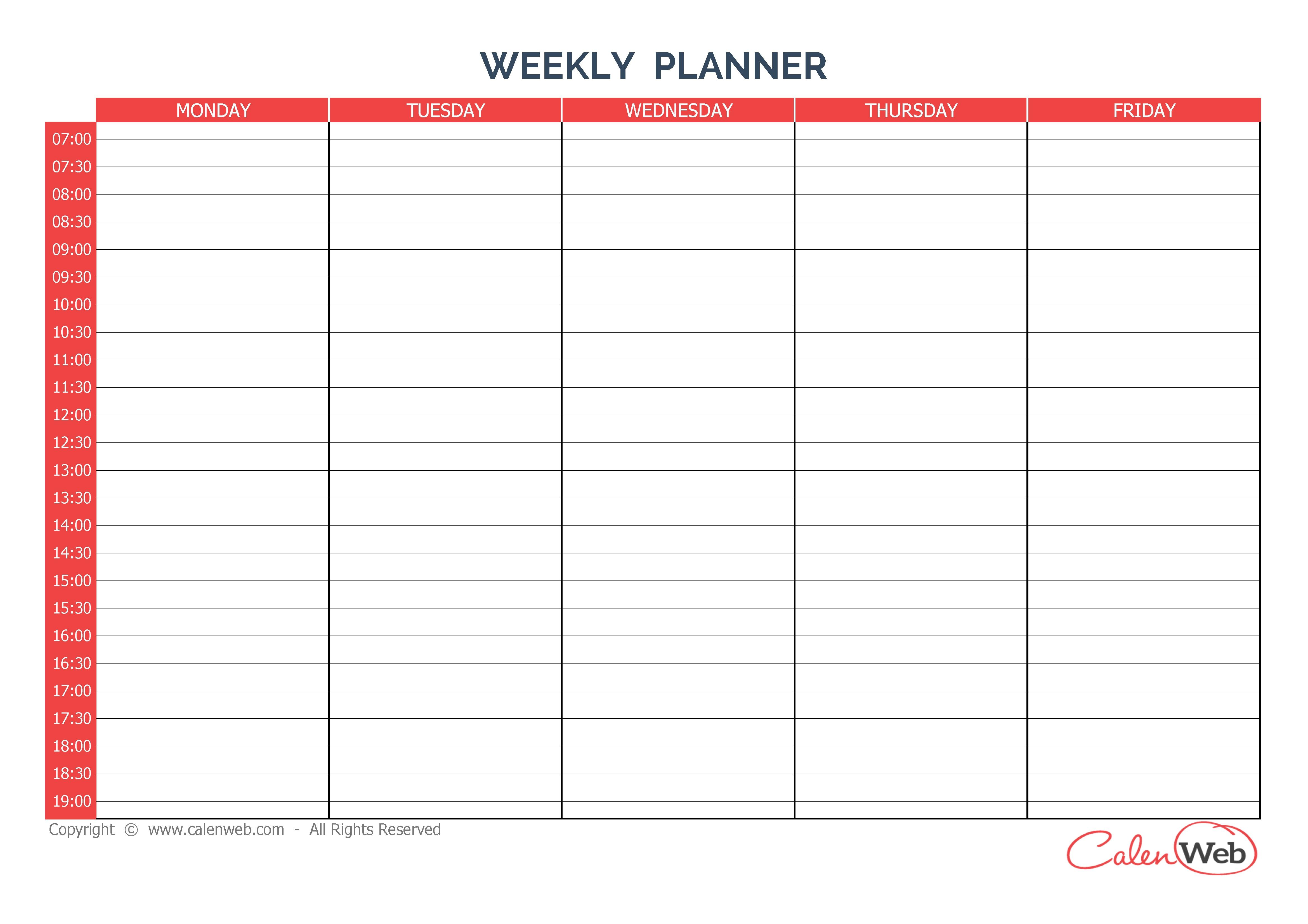 4678x3306 5 Day Weekly Calendar Template Online Calendar Templates