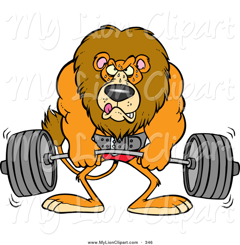 1024x1044 Clipart Of A Cartoon Body Builder Lion Weightlifting By Toonaday