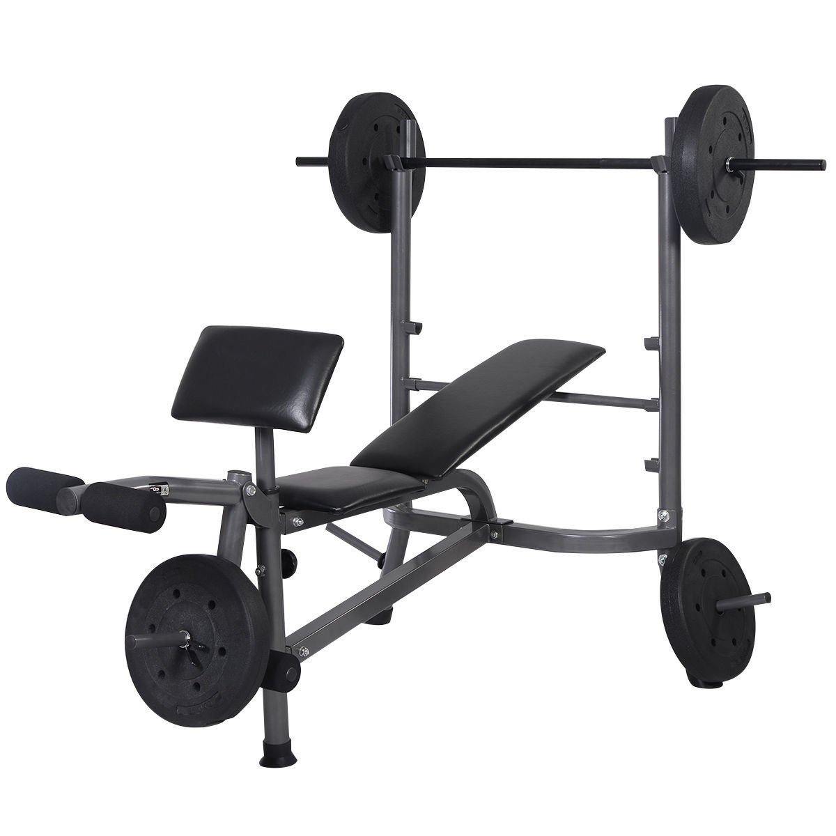 53e23f68cdad 1200x1200 Goplus Standard Weight Lifting Bench Set Incline Flat