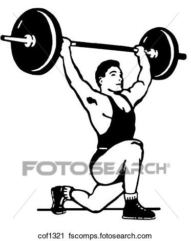 f163fdcc7046 373x470 Clipart Of A Black And White Version Of A Very Muscular Man Weight
