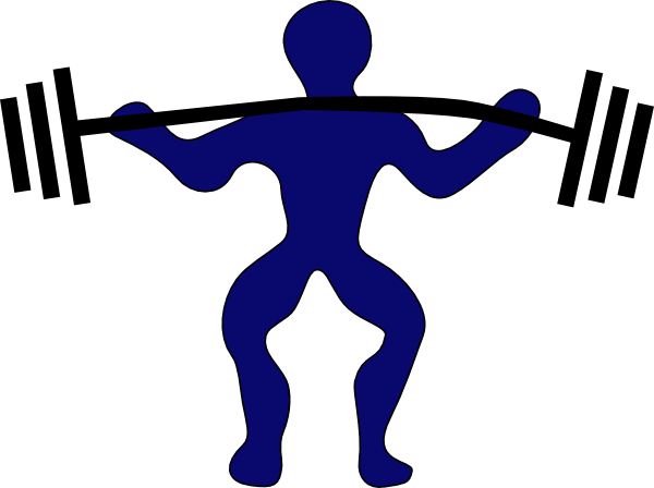 600x448 Blue Man Weightlifting Clip Art
