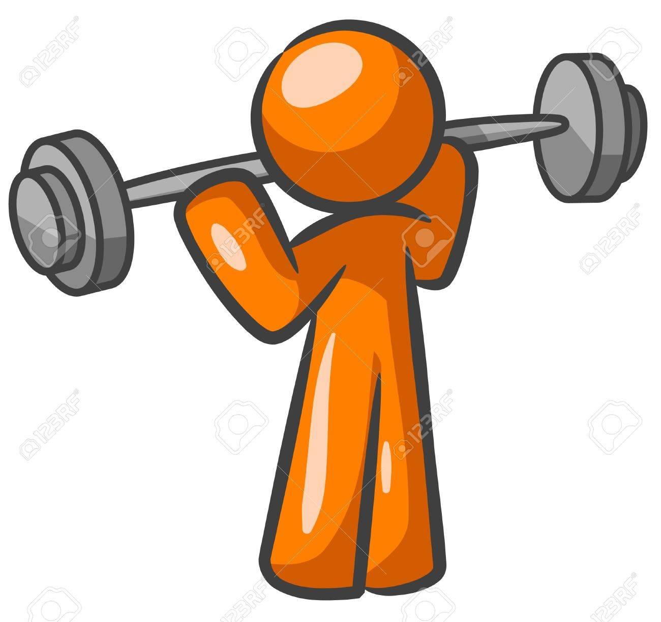 1300x1224 Orange Man Lifting Weights And Working Out. Royalty Free Cliparts
