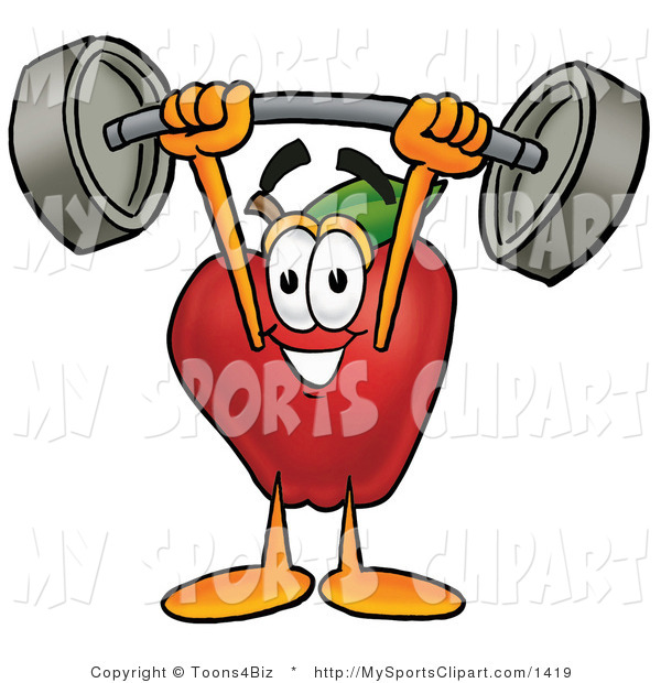 600x620 Sports Clip Art Of A Weightlifting Apple By Toons4biz