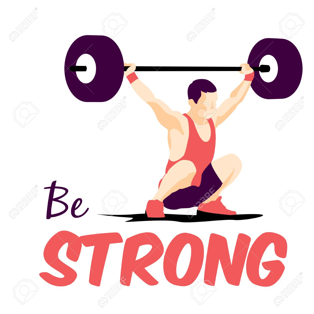 1300x1300 Weight Lifting Athlete And Motivational Slogan. Be Strong. Snatch