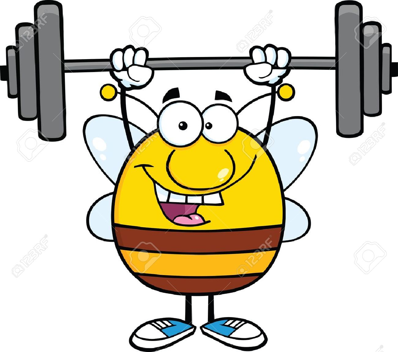 1300x1149 Happy Pudgy Bee Cartoon Mascot Character Lifting Weights Royalty
