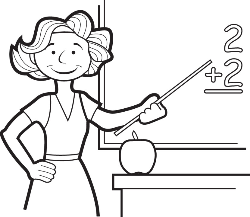 830x719 Teacher Clipart Black And White
