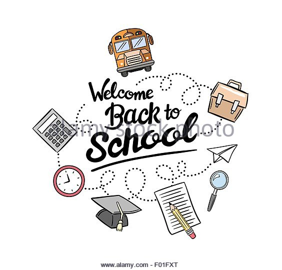 564x540 Welcome Back School Message Icons Stock Photos Amp Welcome Back