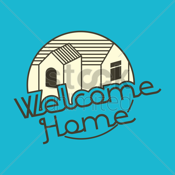 600x600 Welcome Home Hand Lettering Vector Image