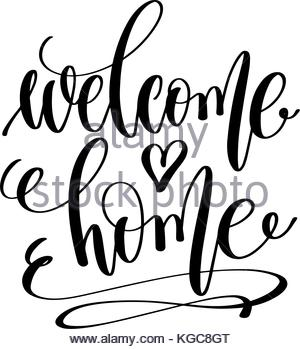 300x349 Welcome Home Vector Vintage Text. Calligraphy Lettering