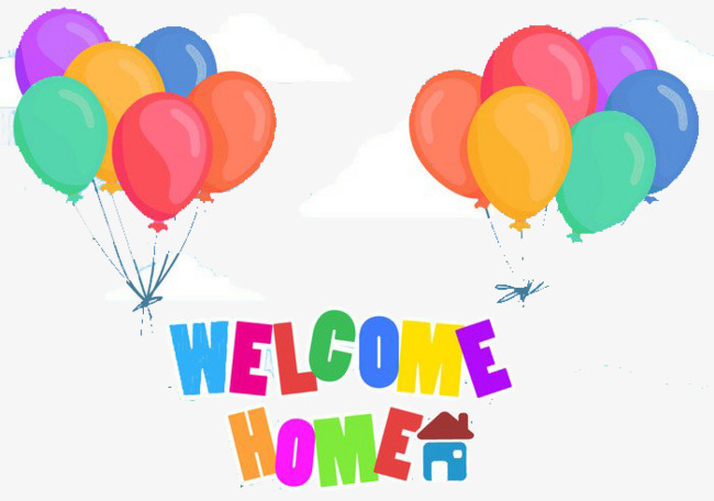 650x456 Welcome Home Full Color Text, Balloon, At Home, Return Home Png