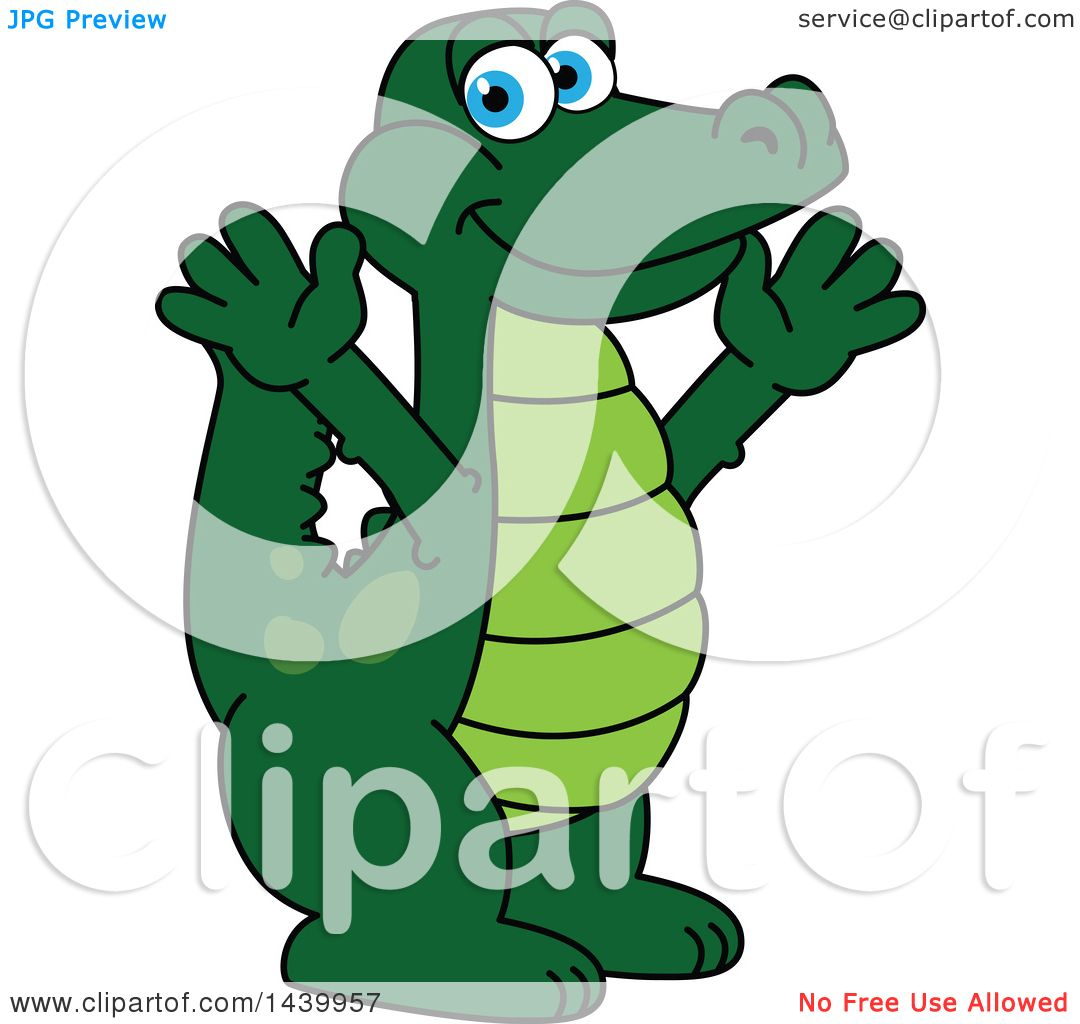 1080x1024 Clipart Of A Gator School Mascot Character Welcoming Or Cheering