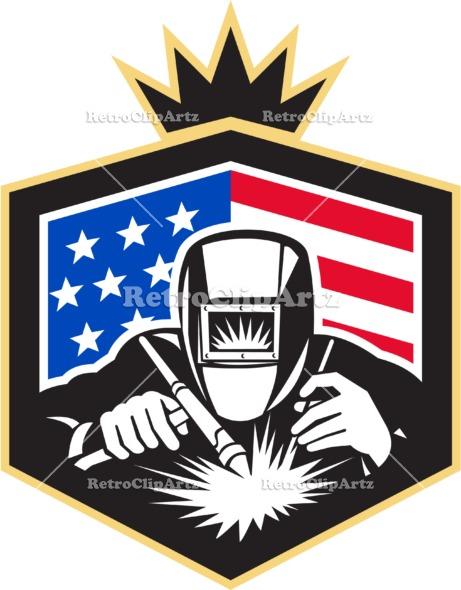 461x590 Welder Arc Welding Usa Flag Crest Retro Retroclipartz