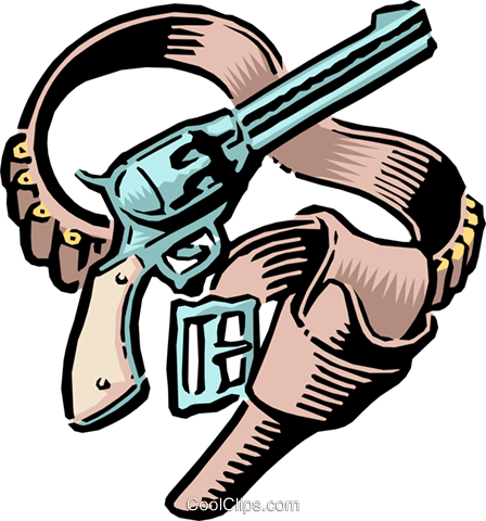 448x480 Old West Guns And Holster Royalty Free Vector Clip Art